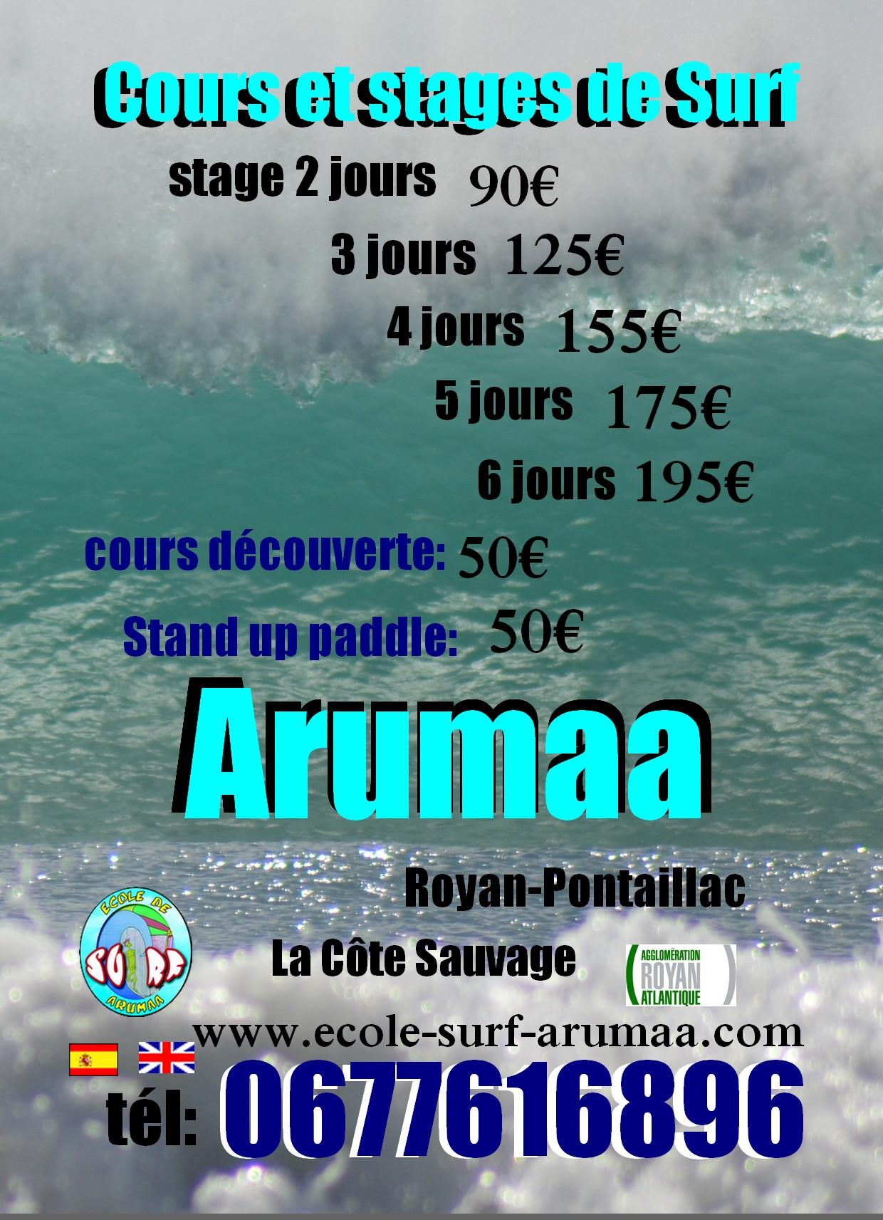 tarifs cours et stage de surf de l école de surf Arumaa, Royan, saint palais sur mer, vaux sur mer, la palmyre l